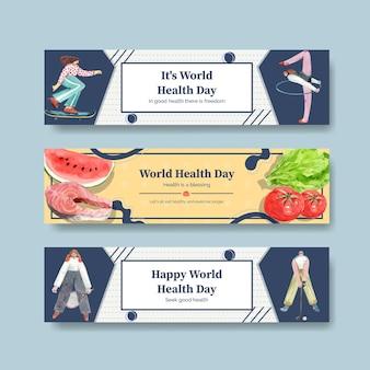 Szablony banerów na światowy dzień zdrowia w stylu przypominającym akwarele