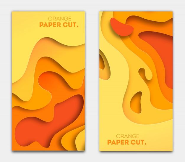 Szablony banerów o pomarańczowych kształtach wyciętych z papieru. jasny jesień nowoczesny streszczenie. ilustracja.