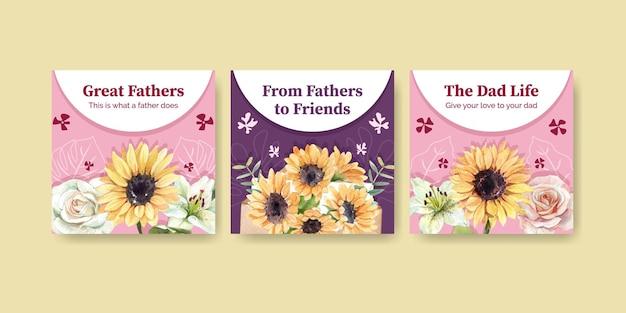 Szablony banerów z koncepcją dnia ojca w stylu przypominającym akwarele