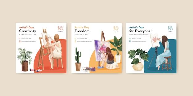 Szablony banerów z międzynarodowym dniem artystów w stylu akwareli