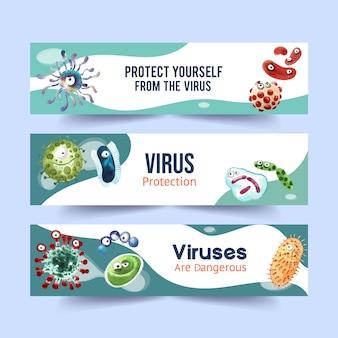Szablony banner ochrony przed wirusami w stylu przypominającym akwarele