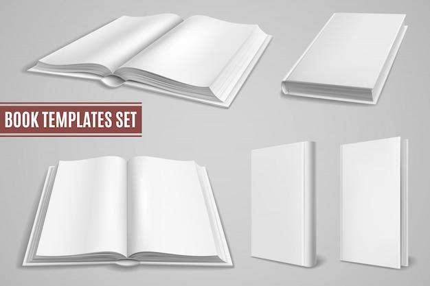 Szablony białej księgi. puste otwarte okładki książek, zamknięte okładki broszur. pusty podręcznik z twardą okładką. pojedyncze makiety