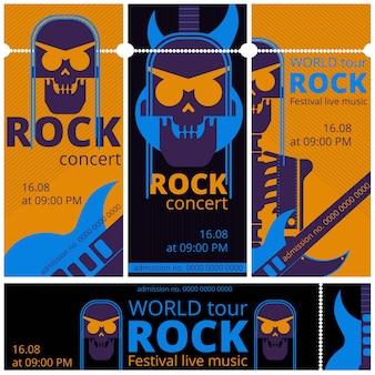 Szablony biletów na festiwal rockowy na żywo. bilet wstępu