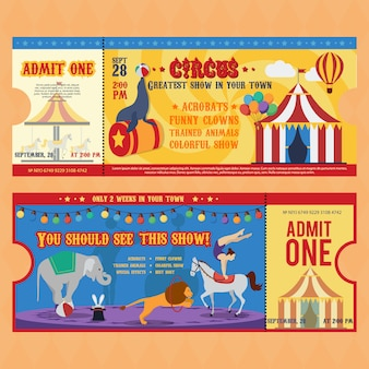 Szablony bilety cyrkowe