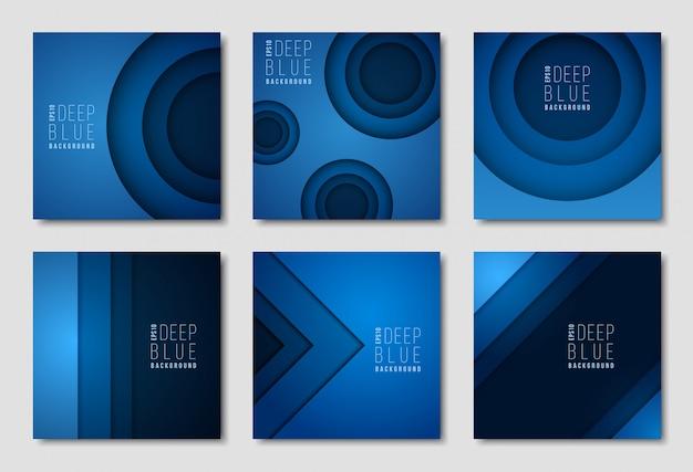 Szablony biuletynów reklamowych. niebieskie tła z prostymi geometrycznymi kształtami