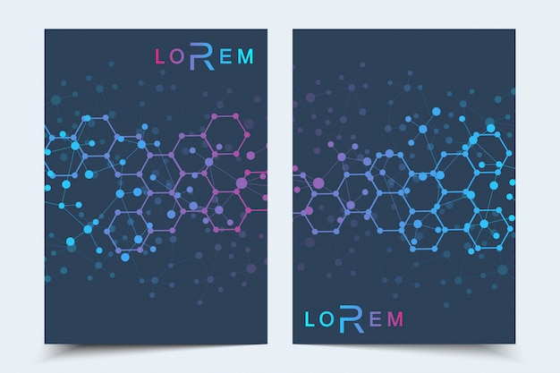 Szablony biznesowe broszura, magazyn, ulotka, ulotka, okładka, broszura, raport roczny. naukowa koncepcja medycyny, technologii, chemii. sześciokątna struktura cząsteczki. dna, atom, neurony