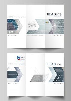 Szablony biznesowe broszury składanej na trzy strony po obu stronach