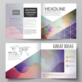 Szablony biznesowe dla bi fold kwadratowej broszury