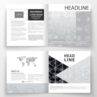 Szablony biznesowe dla kwadratowej bi fold broszury, czasopisma, ulotki.
