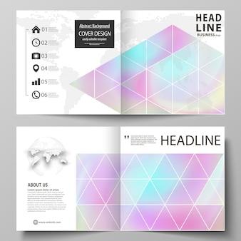 Szablony biznesowe dla kwadratowej broszury bi-fold