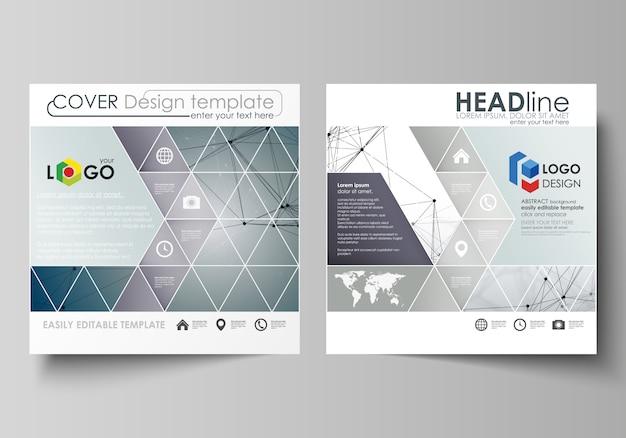 Szablony biznesowe dla kwadratowej broszury, czasopisma, ulotki, broszury.