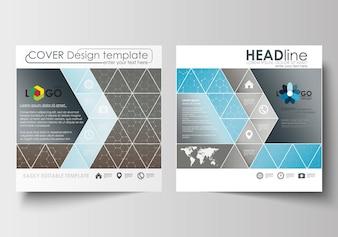 Szablony biznesowe dla kwadratowej broszury, czasopisma, ulotki.