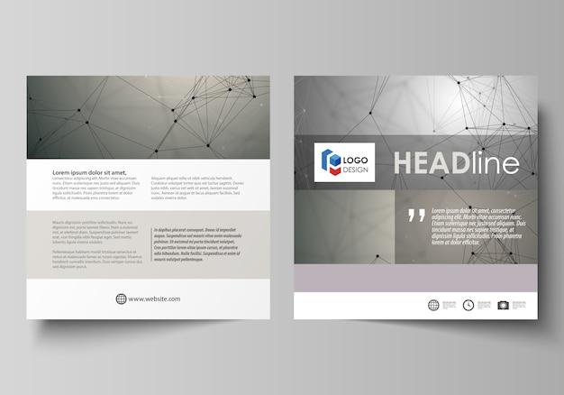 Szablony biznesowe dla kwadratowej broszury, ulotki, broszury, raportu.
