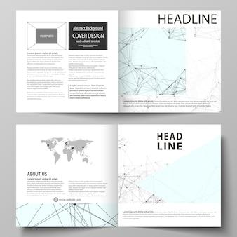 Szablony biznesowe dla kwadratowej broszury z podwójnym projektem, ulotki, raportu.