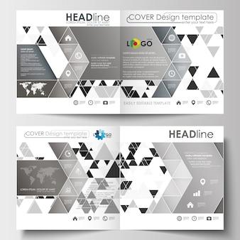 Szablony biznesowe dla kwadratowych broszur, czasopism, ulotek, broszur lub raportów.