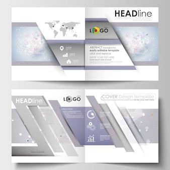 Szablony biznesowe dla kwadratowych broszur, czasopisma, ulotki, broszury.