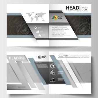 Szablony biznesowe dla kwadratowych broszur, ulotki.
