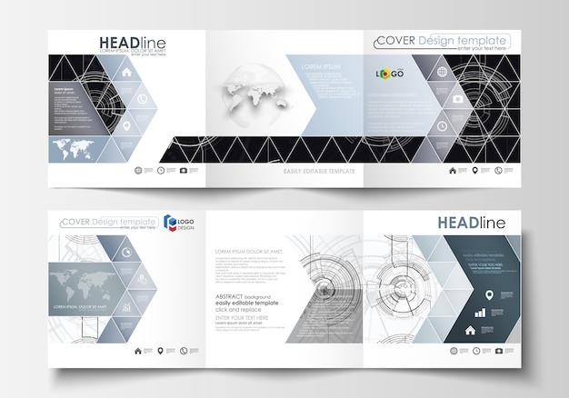 Szablony biznesowe do broszur składanych na kwadratowe foldery