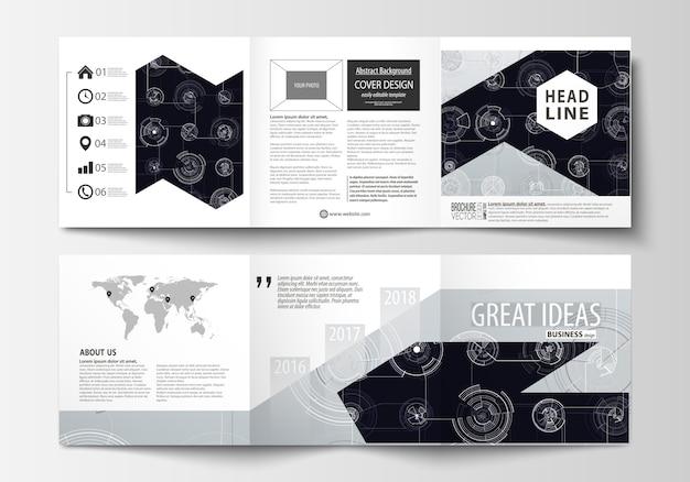 Szablony biznesowe do broszur składanych na kwadratowe foldery.