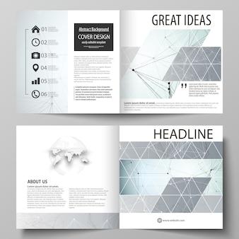 Szablony biznesowe do projektowania broszury kwadratowej bi fold, ulotki, raportu.
