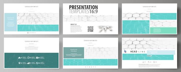 Szablony biznesowe w formacie hd na slajdy prezentacji. abstrakcyjne układy w mieszkaniu. wzór chemiczny, sześciokątna struktura cząsteczki na niebiesko. medycyna, nauka i technologia.