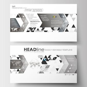 Szablony biznesowe w rozmiarze hd do prezentacji slajdów. streszczenie trójkąt tło wzór