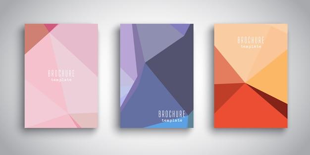 Szablony broszur z abstrakcyjnymi wzorami low poly
