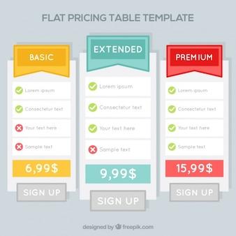 Szablony cena tabel w płaskiej konstrukcji
