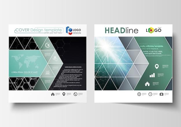 Szablony do kwadratowej broszury projektu, magazyn, ulotki, raport.