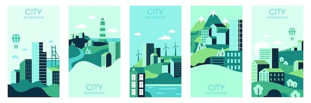Szablony domów na wsi. małe kamienice, tło krajobrazu miejskiego, zestaw szablonów ilustracji plakatów z minimalistycznym widokiem na miasto w mediach społecznościowych. baner widokowy wioski, kolekcja plakatów budowlanych