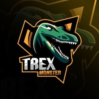 Szablony e-sportowe logo maskotka potwór trex