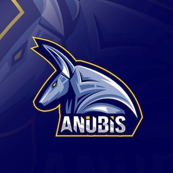 Szablony e-sportowe logo maskotki anubis