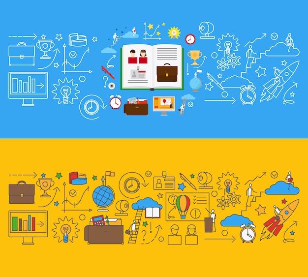 Szablony edukacji online dla banerów internetowych