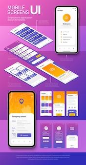 Szablony ekranów smartfonów z interfejsami użytkownika dla aplikacji mobilnych