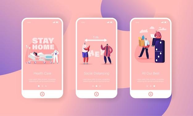 Szablony ekranu aplikacji mobilnej z dystansem społecznym.