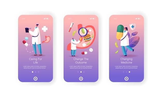 Szablony ekranu aplikacji mobilnej z wizytą lekarską w gastroenterologii.