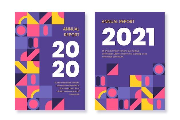 Szablony geometrycznych raportów rocznych 2020 i 2021
