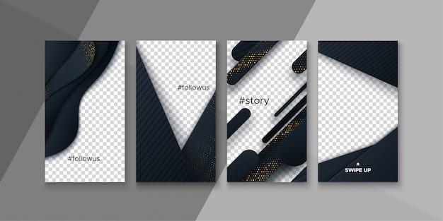 Szablony historii mediów społecznościowych. pakiet układu ilustracja. czarne ramki do projektowania aplikacji mobilnych