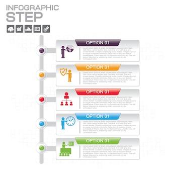 Szablony infografiki z 5 opcjami dla firm