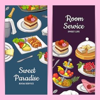 Szablony kart lub ulotek z ręcznie rysowane elementy restauracji lub obsługi pokoju i miejsce na tekst.