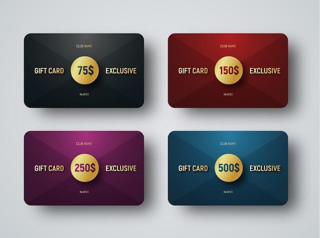 Szablony kart podarunkowych premium ze złotym okręgiem na przecięciu trójkątów.
