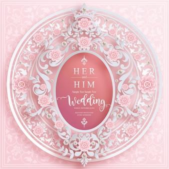 Szablony kart ślubnych na zaproszenie na ślub zi kryształy na tle koloru papieru.