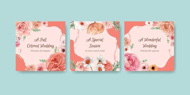 Szablony kart z koncepcją ślubną jesień w stylu akwareli