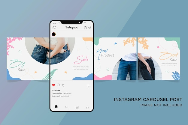 Szablony karuzeli instagram publikują premium sprzedaż mody