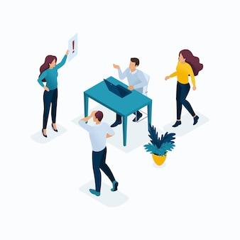 Szablony koncepcji izometrycznych dla rozwiązań biznesowych, uruchamiania, planowania i strategii. nowoczesne koncepcje ilustracji dla strony internetowej