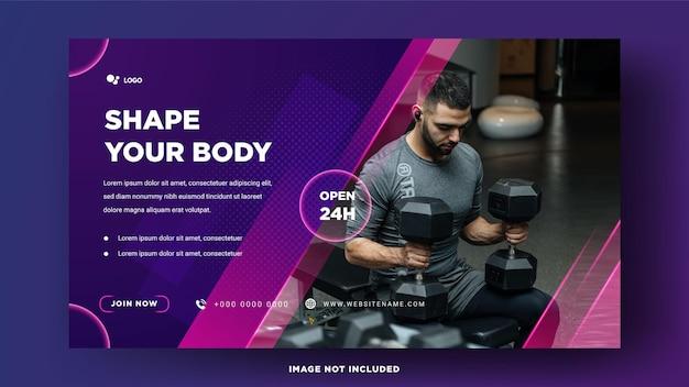Szablony krajobrazów mediów społecznościowych męskie siłownie fitness