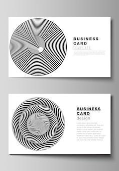Szablony kreatywnych wizytówek. streszczenie 3d geometryczne z złudzeniem optycznym czarno-białe