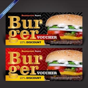 Szablony kuponów rabatowych burger