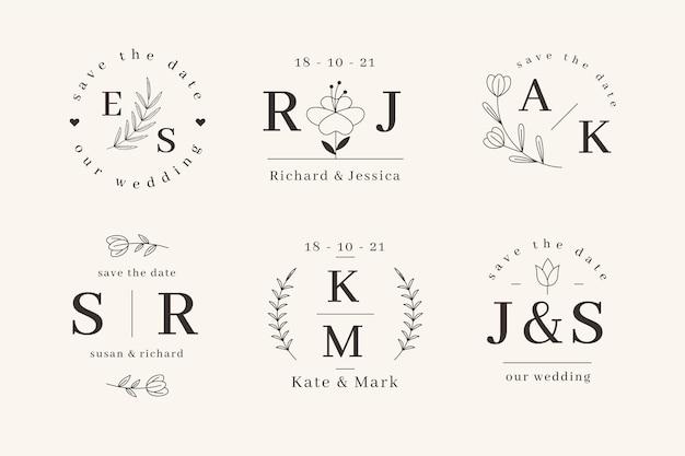 Szablony liniowych płaskich monogramów ślubnych