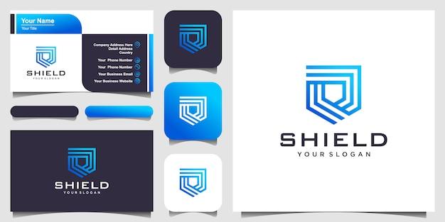 Szablony logo creative shield concept. i wizytówka